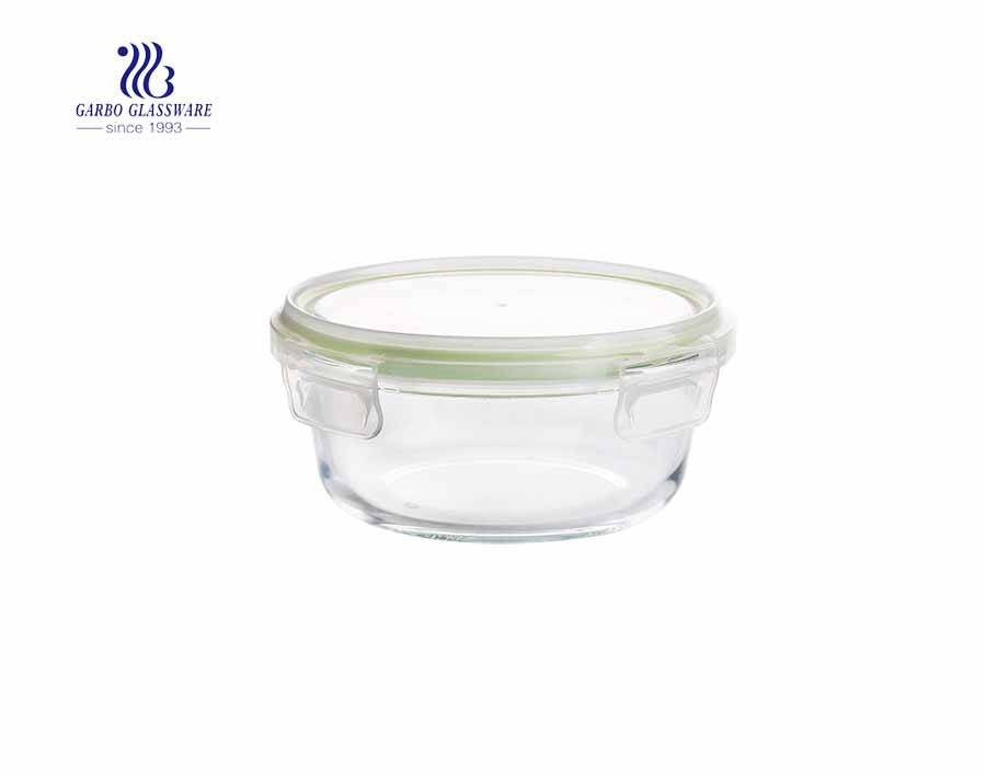 400ml Unique round pyrex glass lunch box with leak proof lid