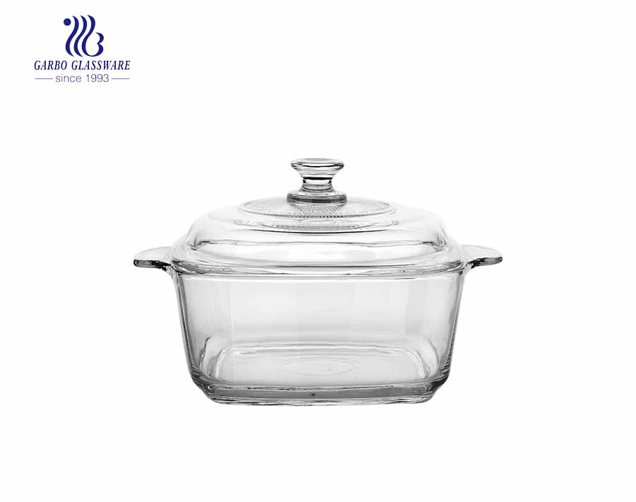 Wholesale 2385ml electroplated amber color pyrex glass casserole bowl for mircowave using