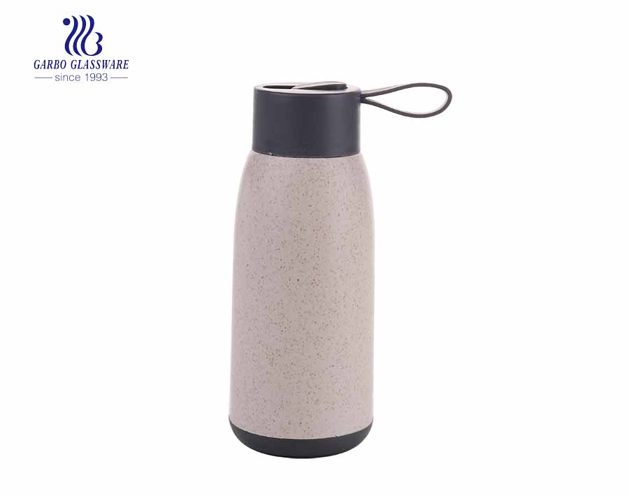 cheap promotion 330ml sports glass water bottle with plasctic sleeve