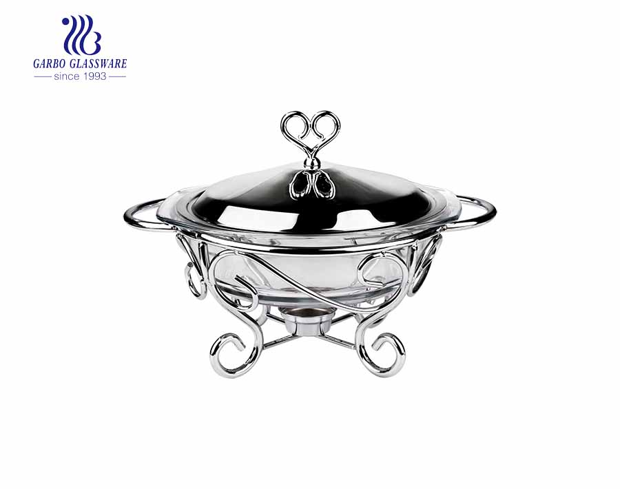 2PCS 2L Pyrex Glass Baking Bowls With Stainless Steel Lid And Stand