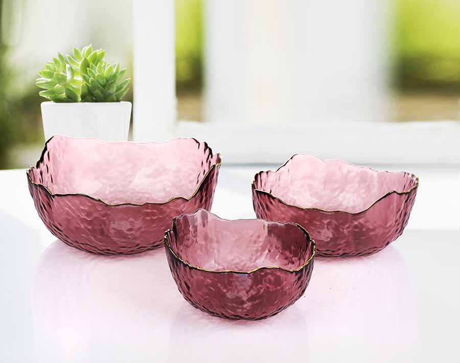 Feito na China uso diário Glod Rim Glass Fruit Bowl Set For Europe Market