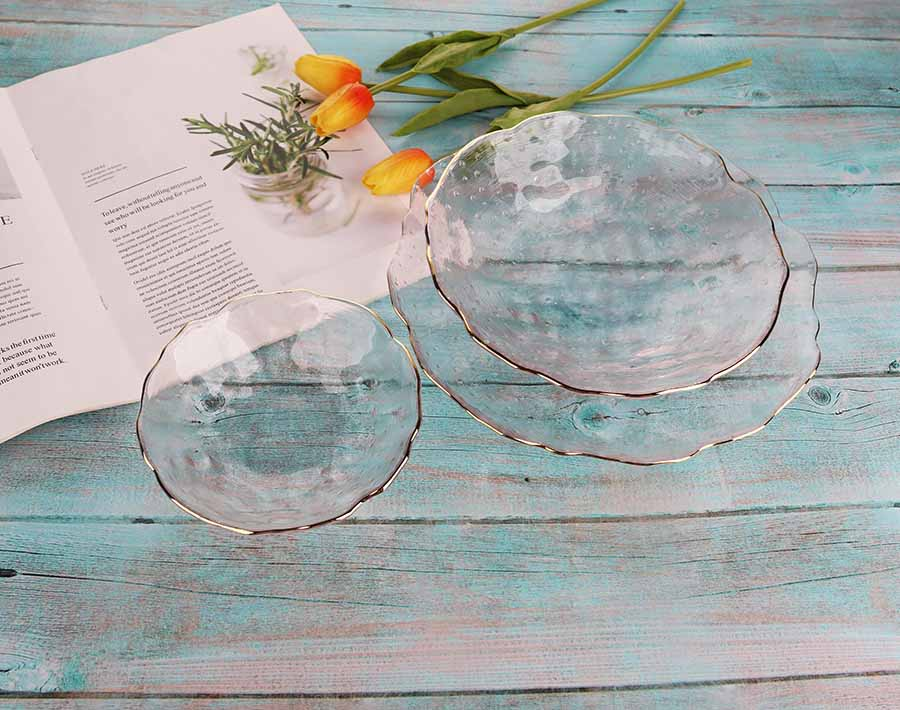 Made in China daily use Glod Rim Glass  Fruit Bowl Set  For Europe Market