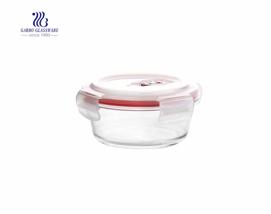 580ml Unique leakproof tempered round glass lunch box