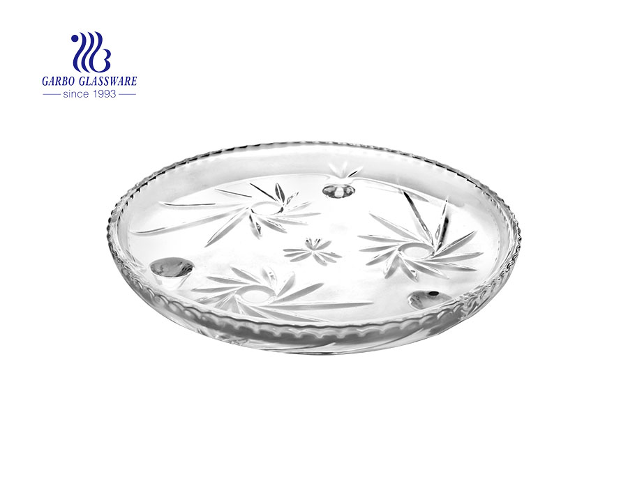 Sunflower Series of Elegant Glass Fruit Plate with Foot for Fruit and Nuts Serving
