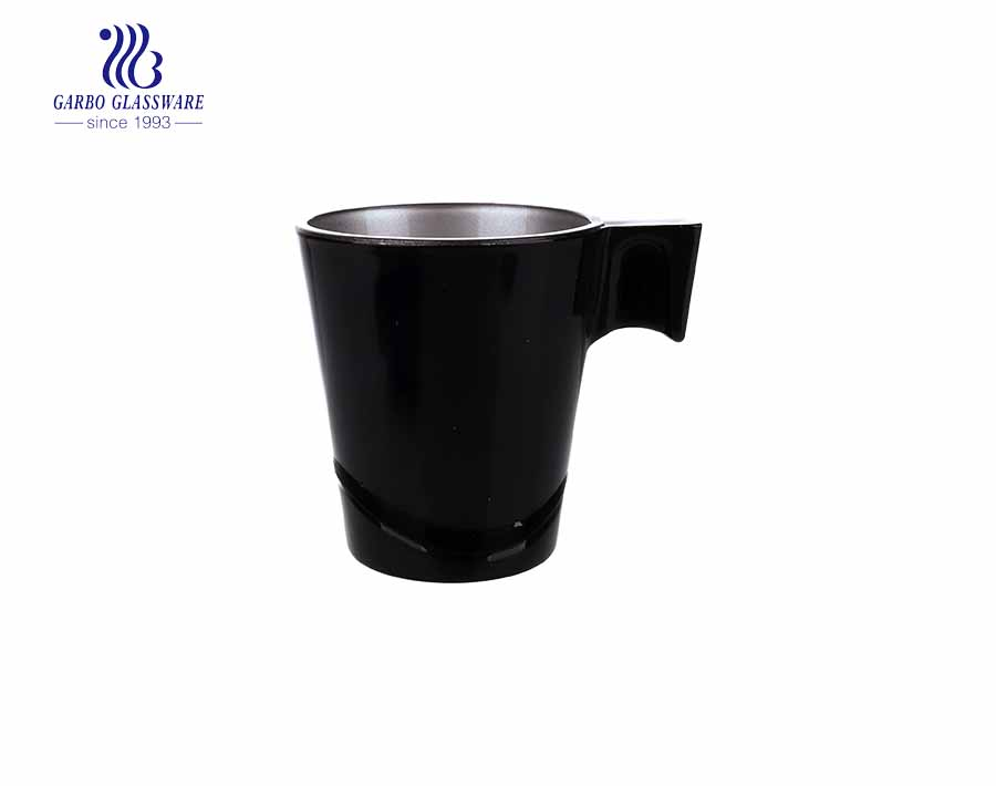 spray black color glass tea mug with special handle