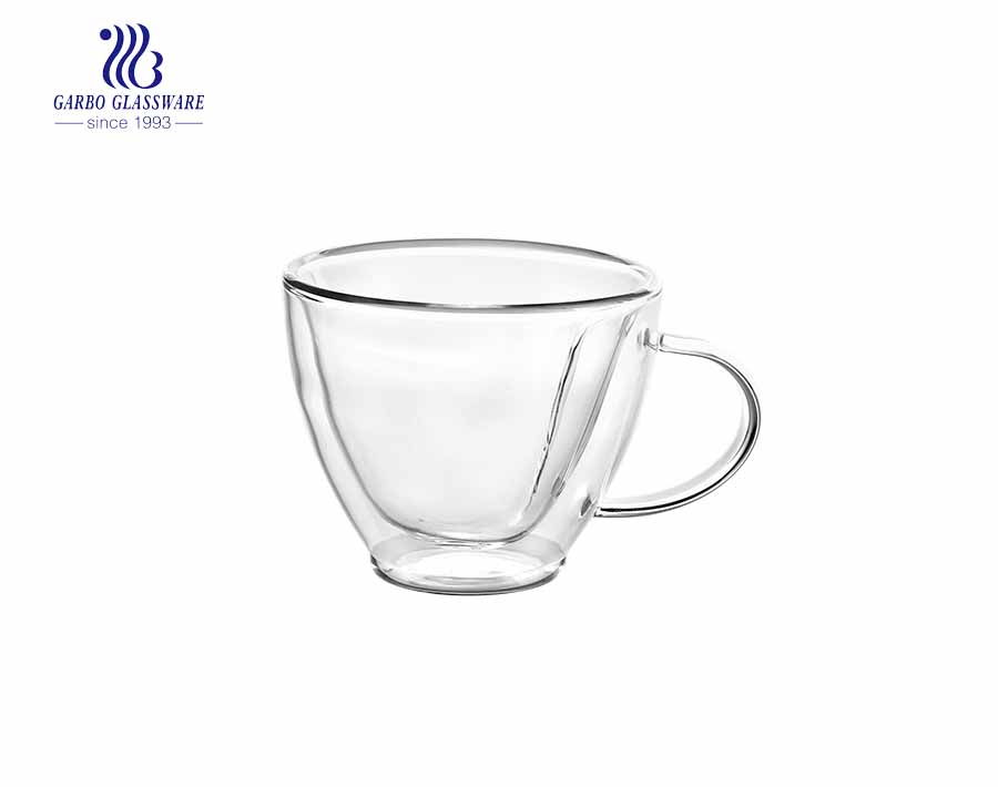 double layer glass tea mug with available custom logo printing