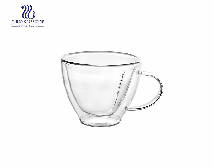 double layer glass tea mug with available custom logo printing