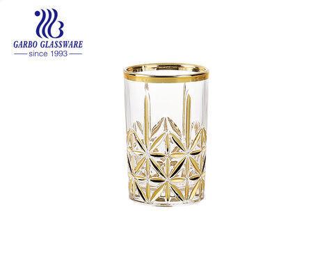Taza de té de vidrio de estilo árabe nuevo de 6 oz con oro y plata