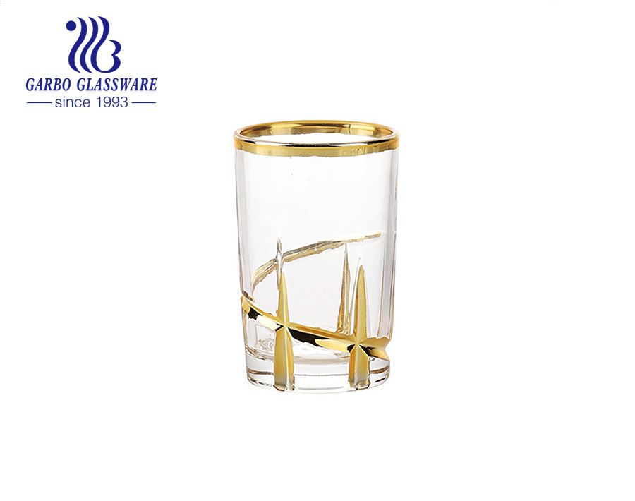 6OZ Arabic new style glass tea cup with gold and siliver