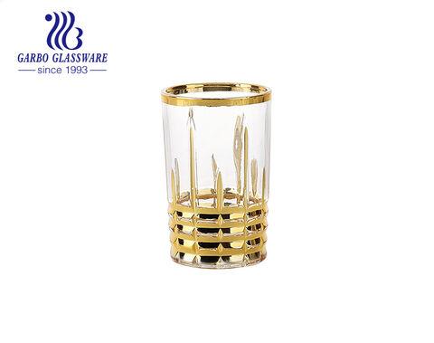 Juego de tazas de té de vidrio grabado dorado de alta calidad
