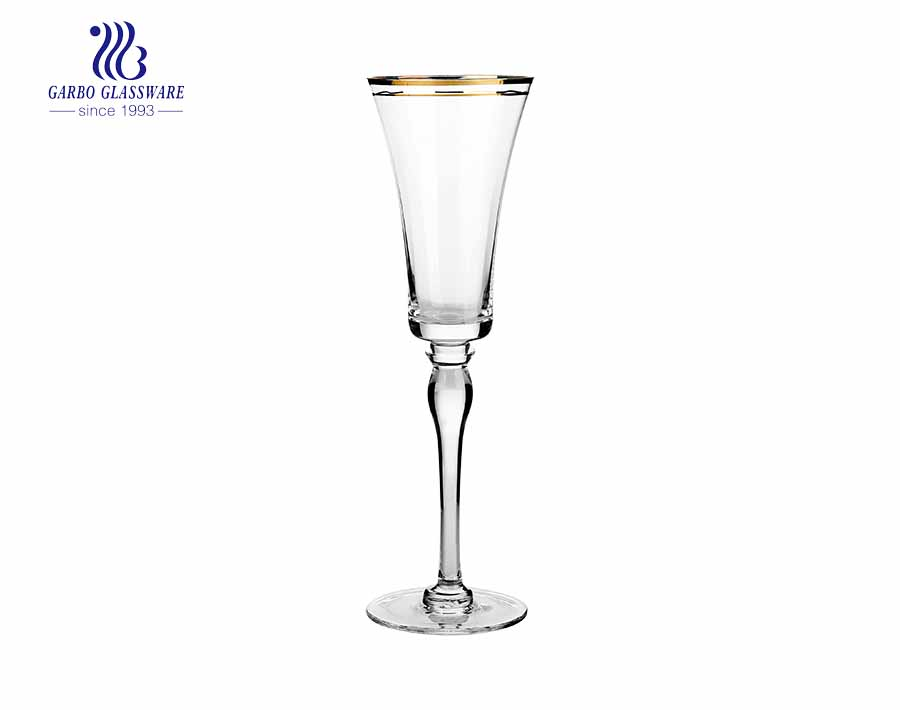 14oz transparent crystal glass Absinthe la muse wine glass with square body and gold rim mounth