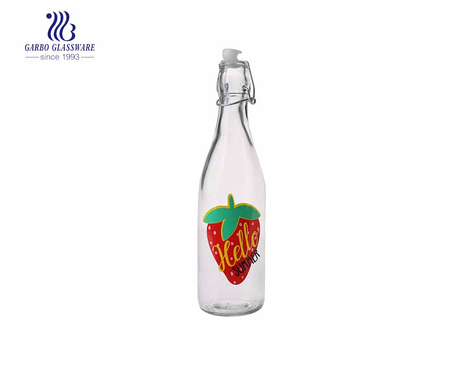Promotion cheap OEM printing 540ml glass juice bottle with clip lid