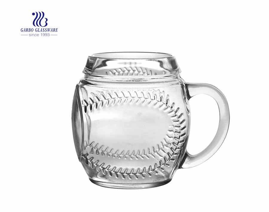 frosted printing glass beer mug with creative bell