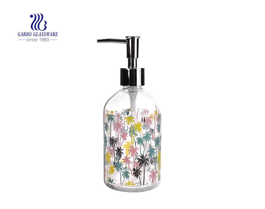 China cheap transparent 430ml glass sanitizer bottle hand wash bottle