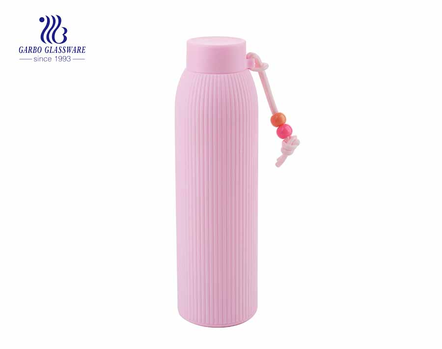 Cute pink straight design 300ml water glass bottle with sleeve