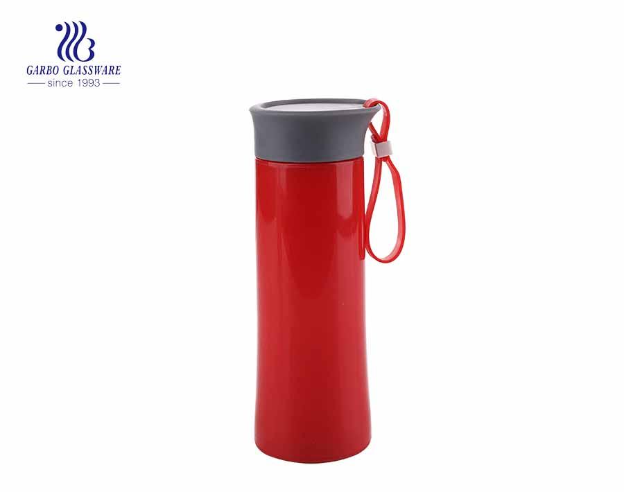 Thiết kế thẳng màu hồng dễ thương Chai thủy tinh nước 300ml có tay áo