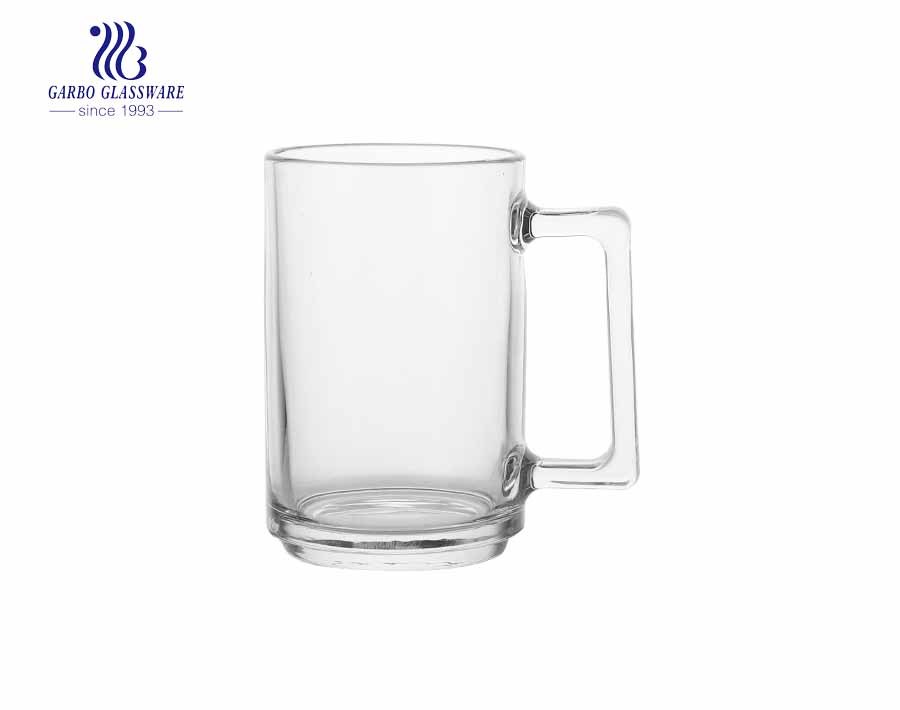 clear glass beer mug available cuatom printing design beer cup with handle