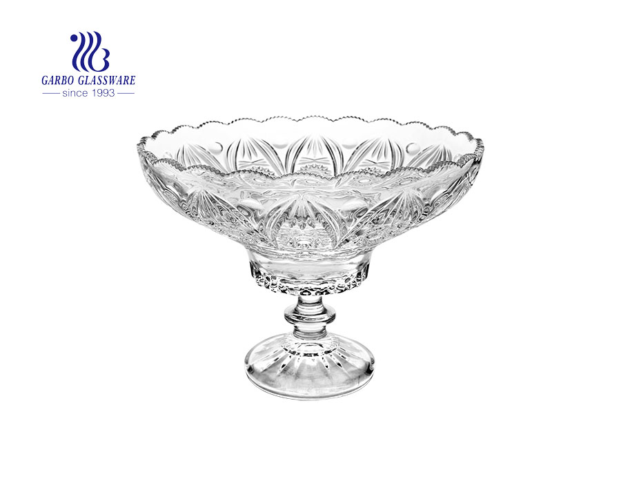 9.65'' Sunflower Series Clear Glass Fruit Bowl with foot