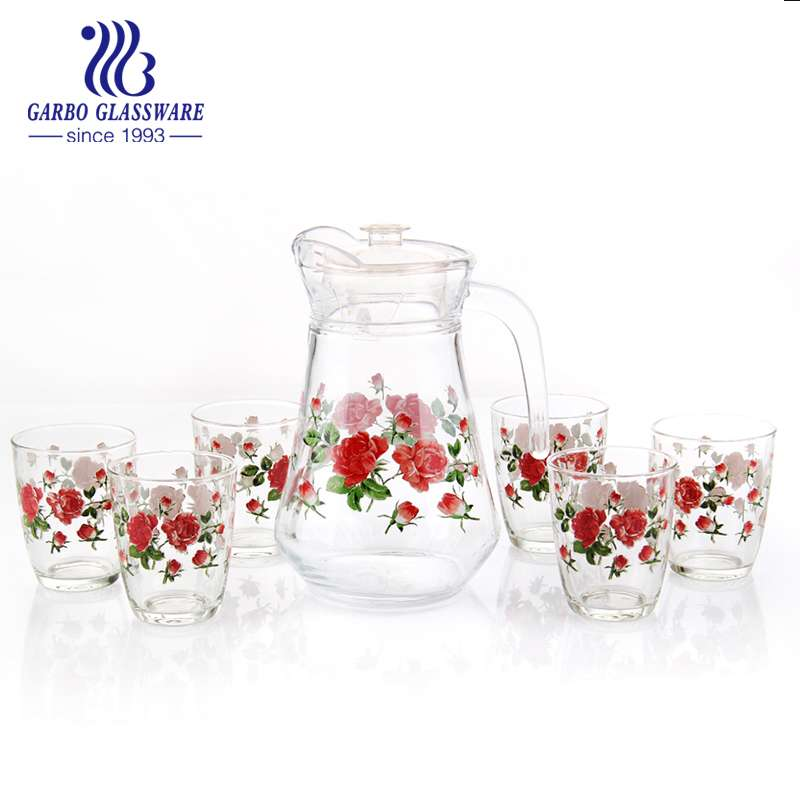 Heat transfer printing decor drinking glass pitcher set with 6 tumblers