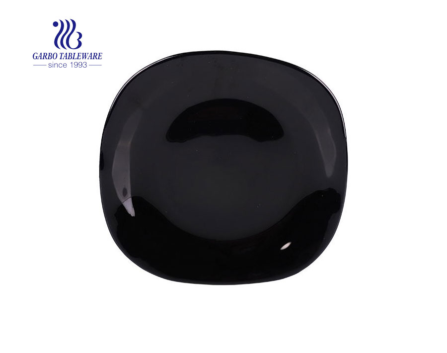 China Spining 9 inch High End Quality Black Opal Glass Plate