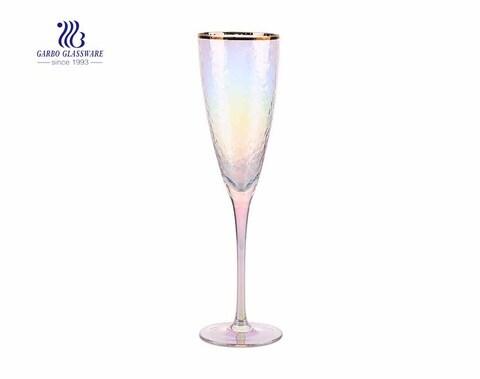 Flautas de champanhe galvanizadas coloridas iridescentes 270ml do vintage