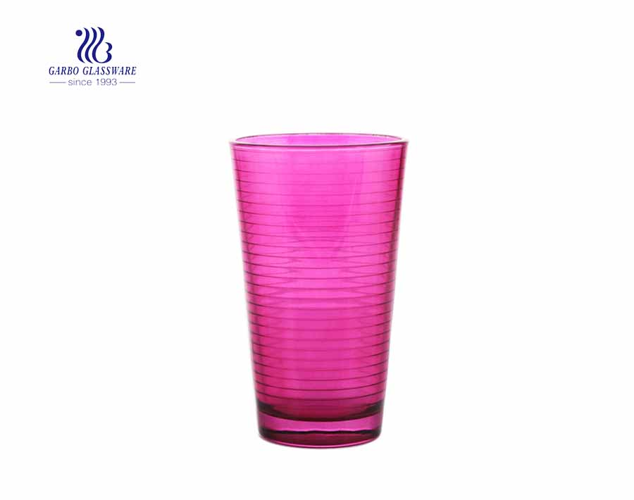 450ml red color glass drinking tumblers with circle designs