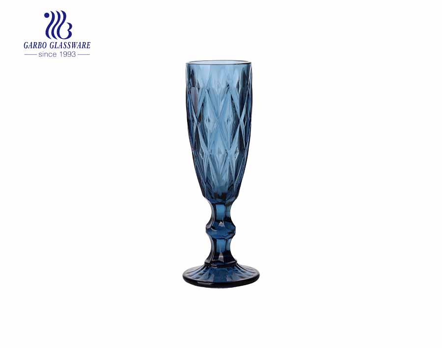 150 ml einfarbige dunkelblaue Champagnerglasbecher mit neuen Diamantdesigns