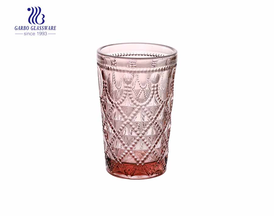 Purple color 350ml drinking glass water tumblers
