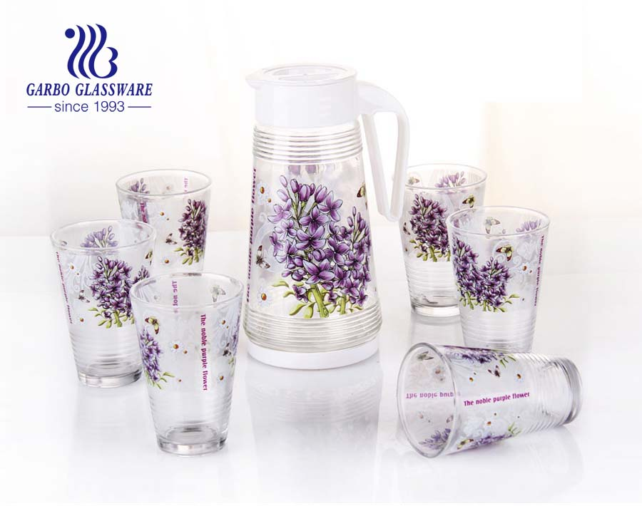 Beautiful decor print designs drinking set glass pitcher set