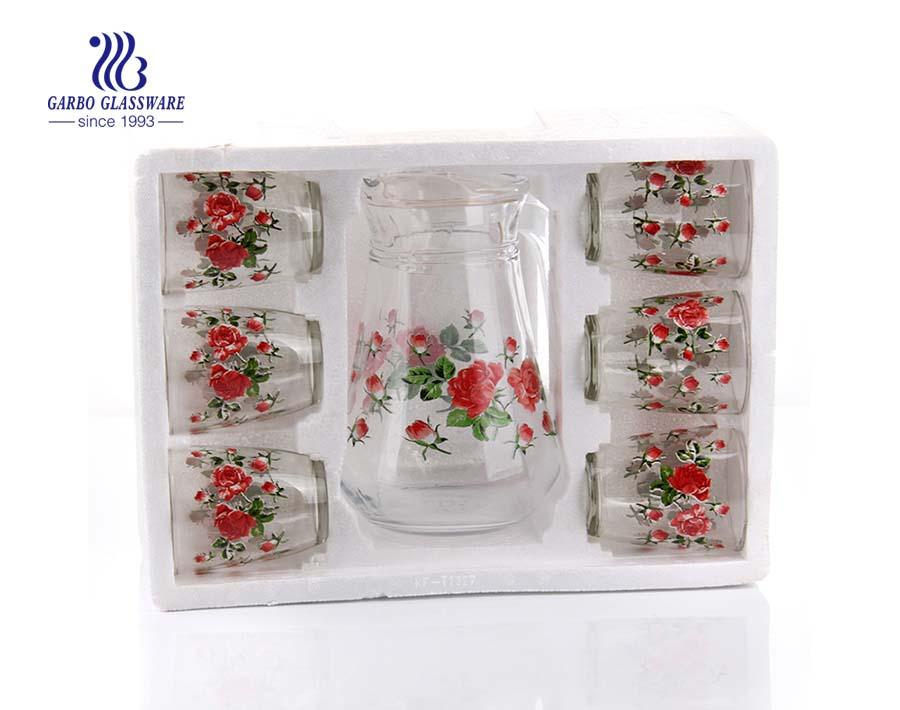 Maple leaf flower drinking glass customized print decor glass pitcher set
