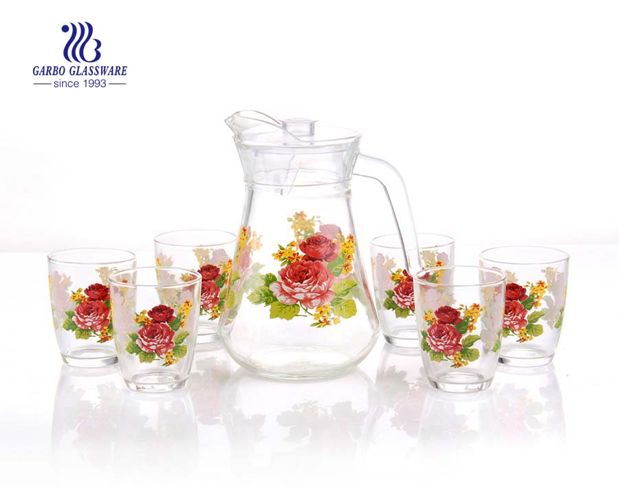 Maple leaf flower drinking glass customized print decor glass pitcher set