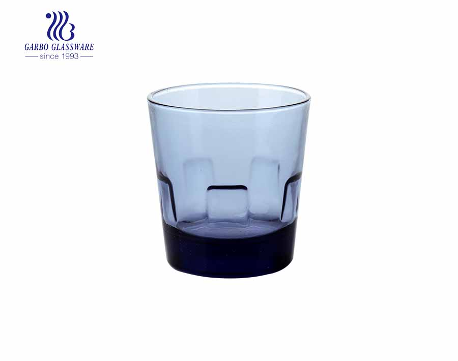 Vasos de vidrio de roca de whisky de color azul de 200 ml para bar