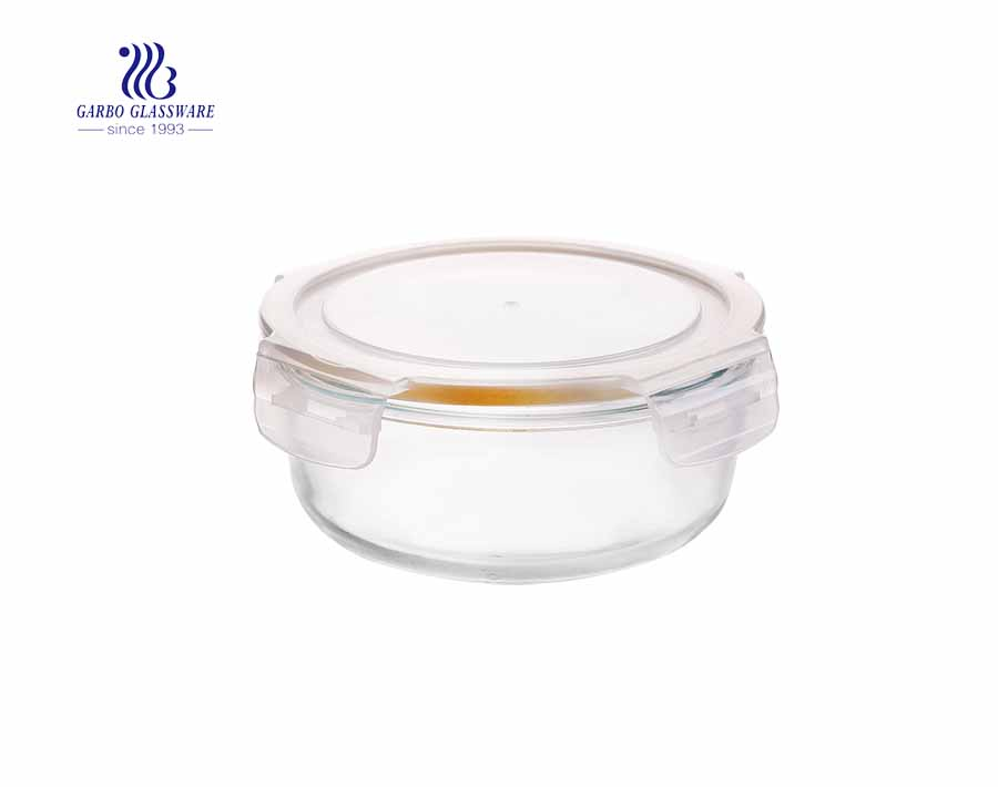 400ml Simple airtight pyrex round glass lunch box