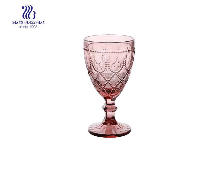 11oz pink color glass wine goblet with stemware for party