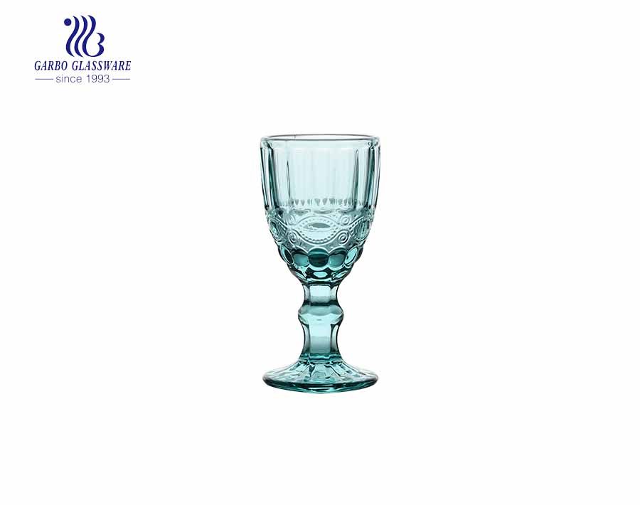 2oz small stemmed Shot Glass for bar with sky blue color