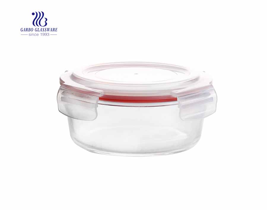 860ml Fancy leakproof airtight round pyrex glass food container