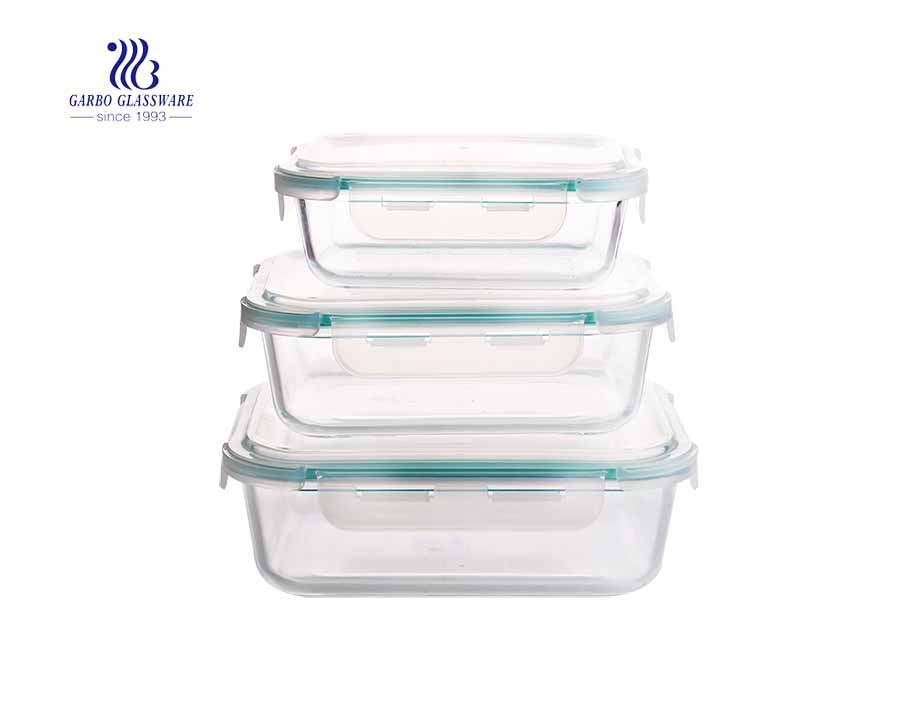 3Pcs Rectangle pyrex glass lunch box set with airtight lid