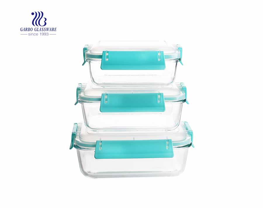 3-teilige Lectangle-Lunchbox aus Pyrexglas mit luftdichtem Deckel