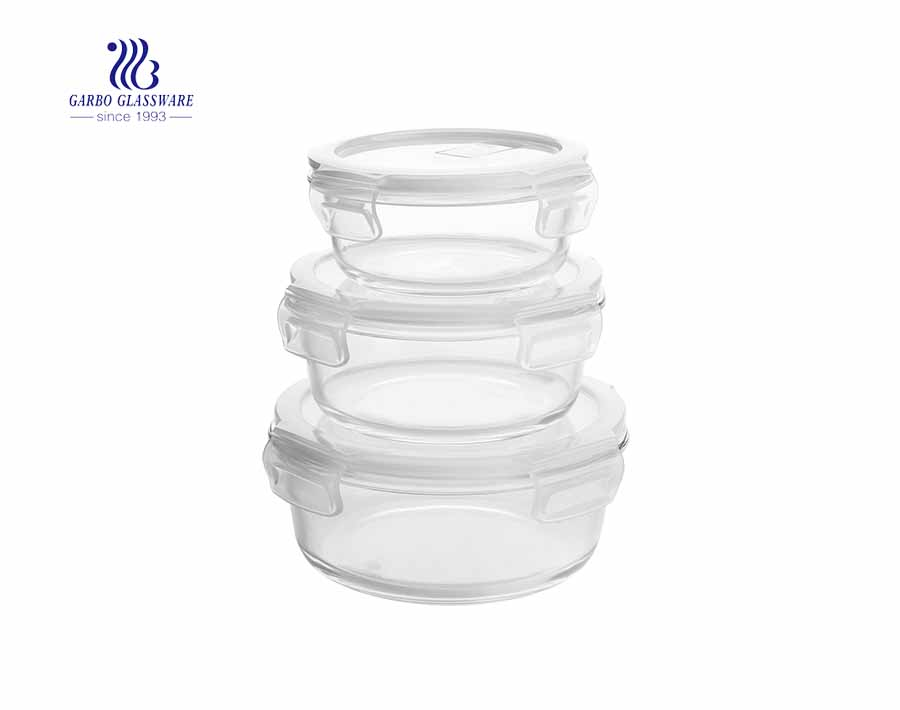 Wholesaler cheap 3pcs round pyrex glass lunch box set