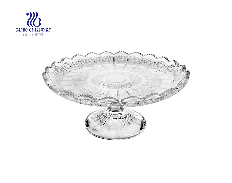 12.72'' Dot Design of  Glass Plate with stand for Daily Usage