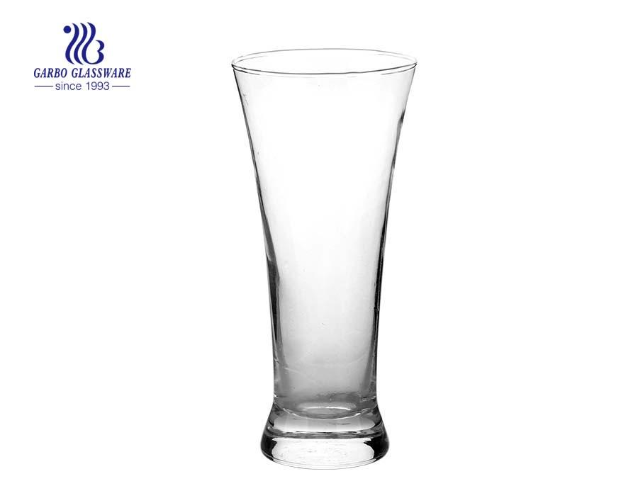 Vaso de vidrio de cerveza Pilsner sin plomo de cristal transparente