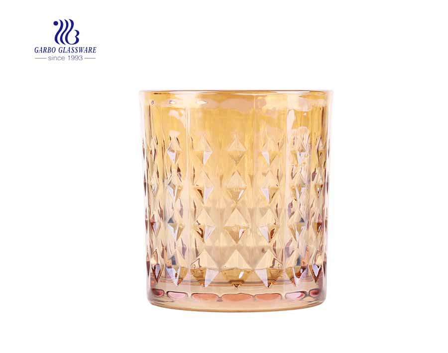 11oz diamond glass engraved gold glass tumblers for cool drinking