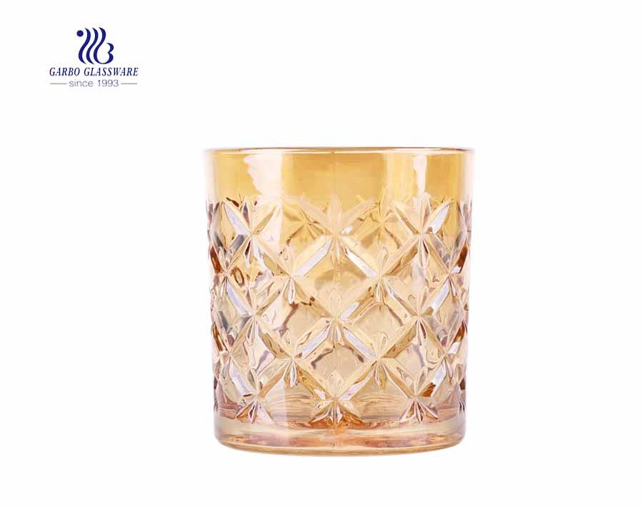 11 Unzen Diamantglas gravierte Goldglasbecher für kühles Trinken
