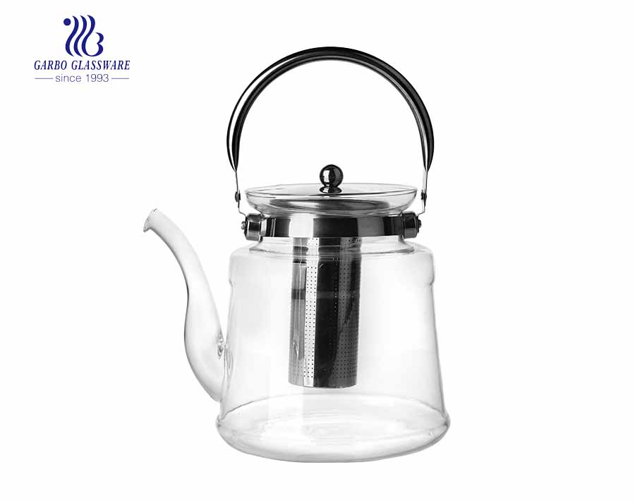 Glass Water Pitcher Glass Tea Pot Glass Tea Coffee Pot with Stainless Steel Filter