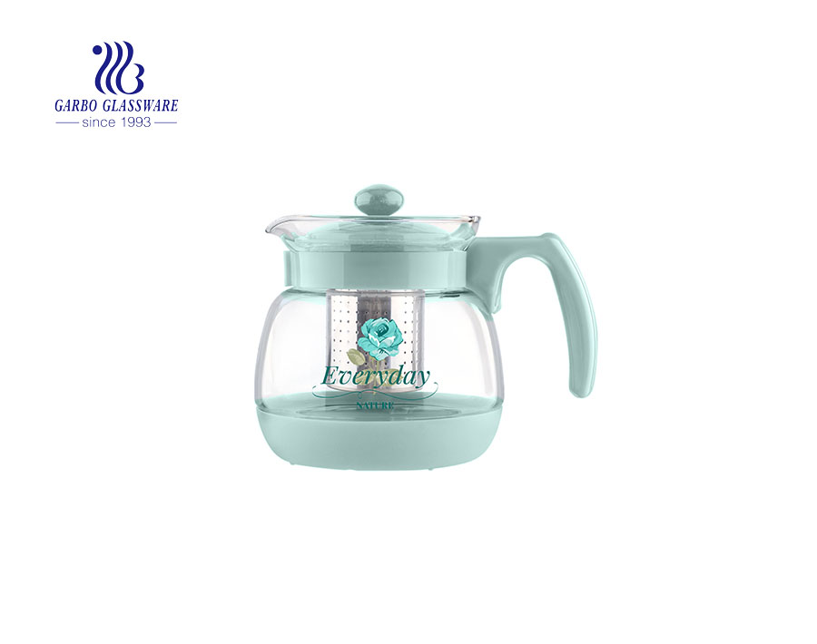 Fashion Printing Glass Tea Pot Modern Glass Tea Pot With Filter