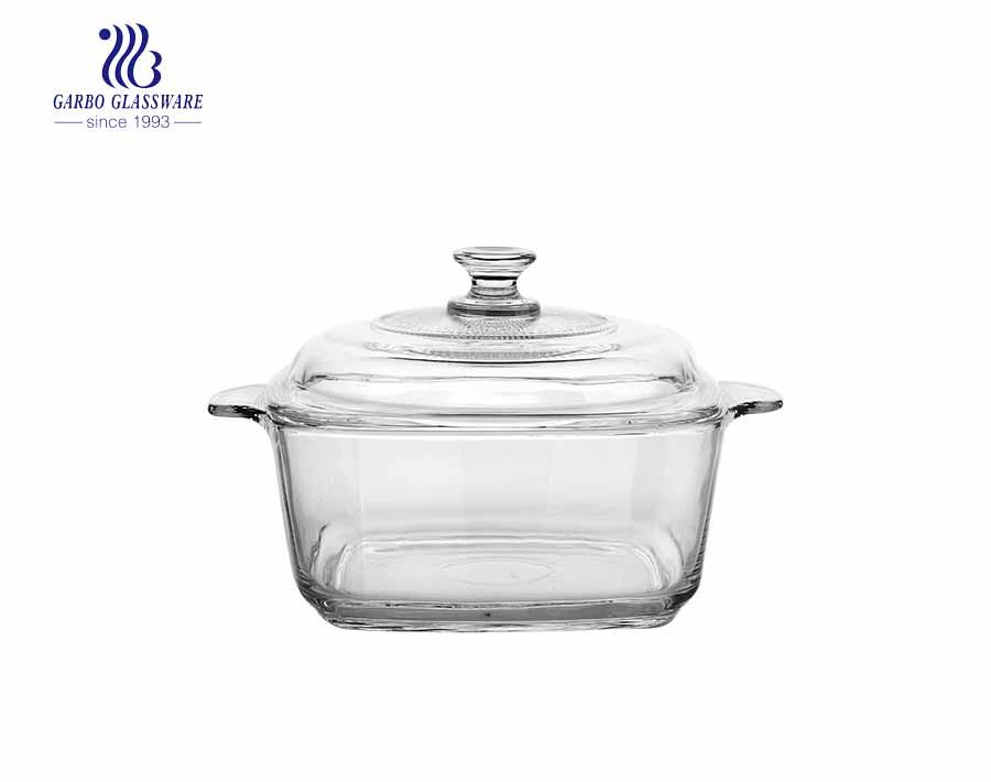 1540 ml ionenelektroplattiertes Backglas Auflaufform gehärtetes Glas