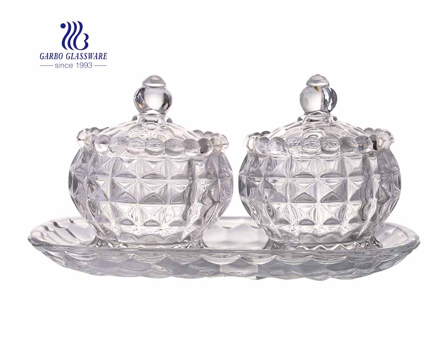 Wholesale Clear 3 Pcs Sets Sugar Bowl Glass Candy Jars with plate