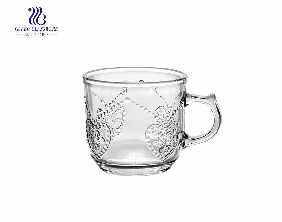 rim cốc thủy tinh vàng trong cốc uống trà thủy tinh có in decal