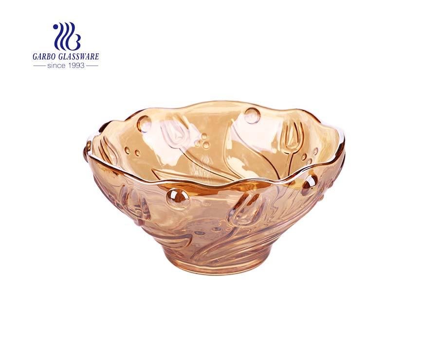 9.02 '' Elegant Rose Design Große Glasschale mit Ionenbeschichtung