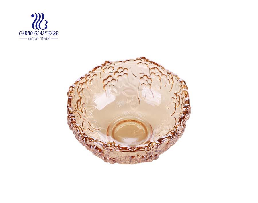 9.02'' Elegant Rose Design Big Glass Bowl with Ion Plating Decoration